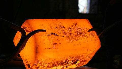 Closeup Blacksmith Hammer Forges Very Hot Iron Bar Footage