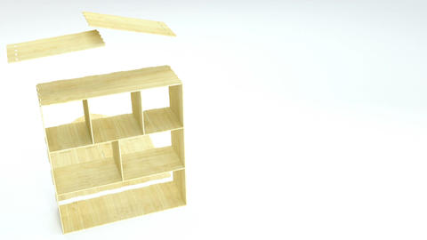 Disassembling of wooden doll house. Toy house details Animation