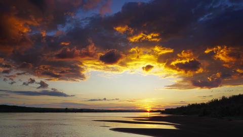 Dramatic red sunset river landscape, timelapse Footage