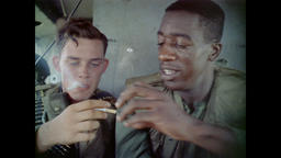 Vietnam War - Sharing Smokes Aboard Helicopter After Extraction From LZ 1967 Filmmaterial