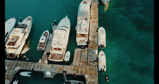 Turks and Caicos above rotating marina Footage