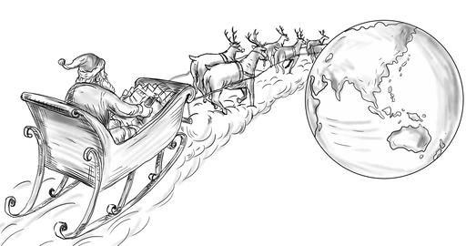 Santa Claus Sleigh Reindeer Deliver Gifts 2D Animation Animation