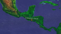 Santa Ana - El Salvador zoom in from space Animation