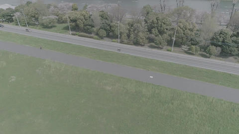 Scenery taken by rotating drone in D-log format Footage