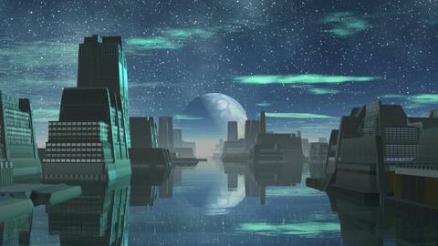 Alien City and the Big Moon Animation