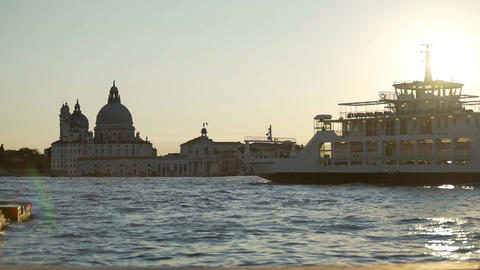 Pleasure boats moving by Venice landmarks at dusk, sightseeing trip for tourists Footage