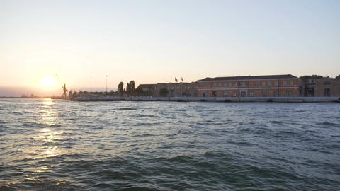 View from boat moving along Grand Canal at Venice streets and architecture Footage