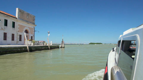 Water bus exiting Grand Canal, heading for Venetian Lagoon islands, tourist trip Footage