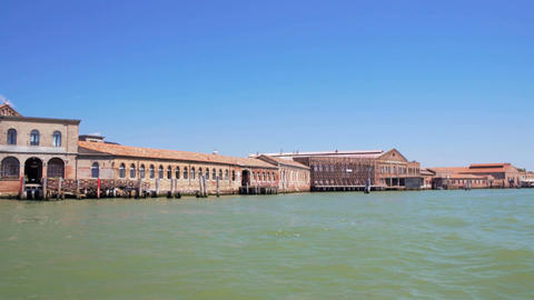 Murano island buildings seen from canal, tourist trip to Venice, sightseeing Footage