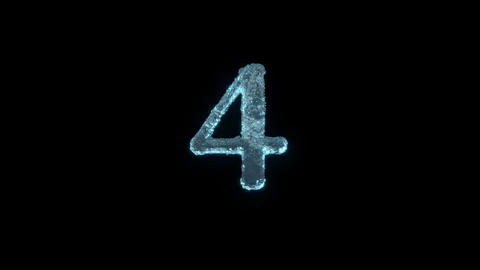 The Number 4 Of Ice Isolated On Black With Alpha Matte Animation