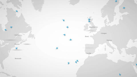 International airlines. Airplanes and map. Animated Infographics map Image