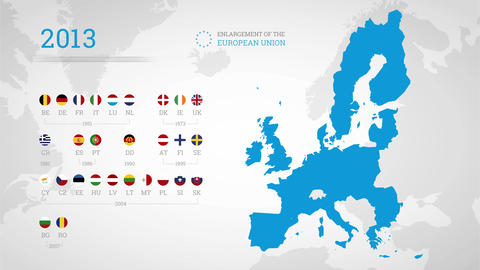Enlargement of the European Union. Animated info graphics Animation