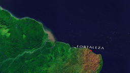 Fortaleza - Brazil zoom in from space Animation