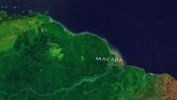 Macapa - Brazil zoom in from space Animation