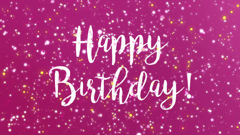 Sparkly purple Happy Birthday greeting card video Animation