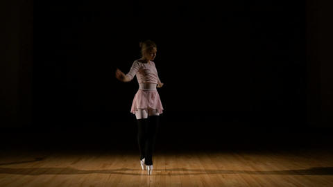 Graceful girl dancer practicing ballet at the studio Footage