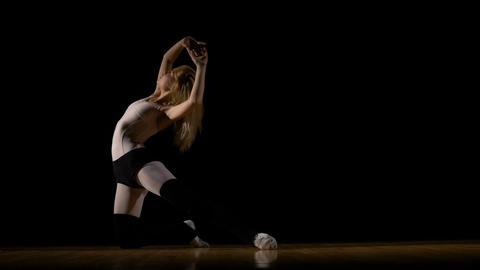 Ballerina girl dancing on the floor Footage