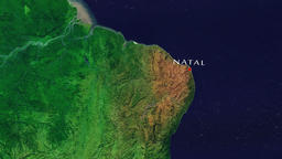 Natal - Brazil zoom in from space Animation