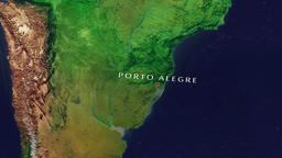 Porto Alegre - Brazil zoom in from space Animation