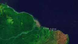Sao Luis - Brazil zoom in from space Animation