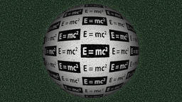 Decorative black, white and green video with rotating sphere and equation E=mc2  Animation