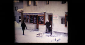 February 1969 - Obergurgl - Gasteheim Broser - women out of the building with sk Footage