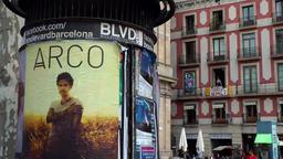 Spain Barcelona 013 advertising pillar and house facade in La Rambla Footage