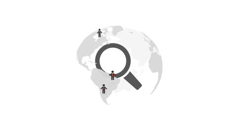 Human resource world, magnifying glass searching people, globe rotating loop Animation