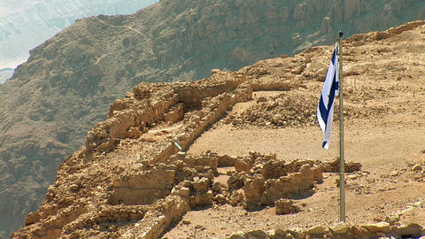 Flag of Israel in Masada Stock Video Footage
