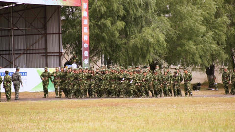 Military Training Of Chinese Students 09 Stock Video Footage