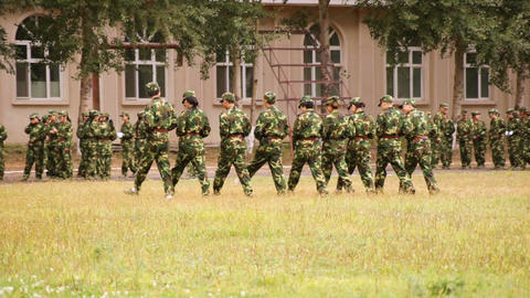 Military Training of Chinese Students 11 Stock Video Footage