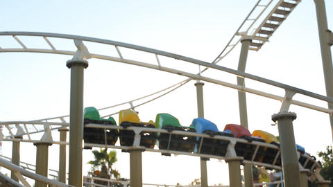 amusement park holiday merry coaster swing circus train... Stock Video Footage