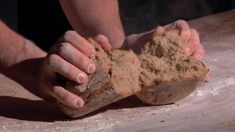 10724 german bakery brake fresh bread with steam Stock Video Footage
