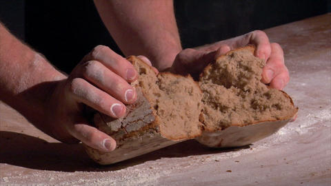 10724 german bakery brake fresh bread with steam Stock Video Footage