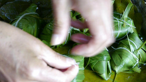 Hands produced rice dumplings of Jujube & glutinous rice Footage