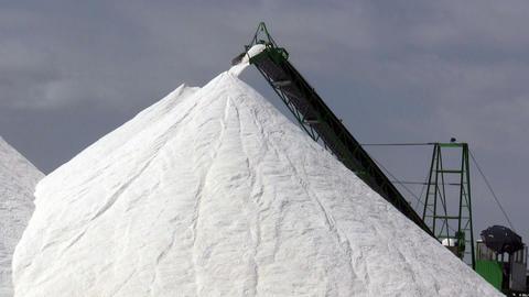 Extraction of salt, conveyor Stock Video Footage