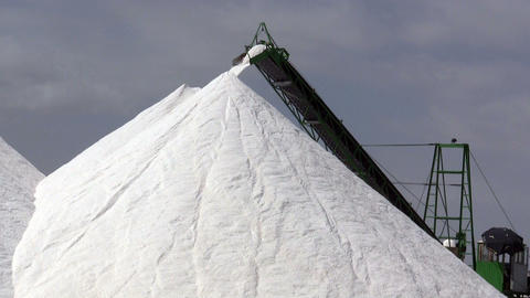 Extraction of salt, conveyor Stock Video Footage