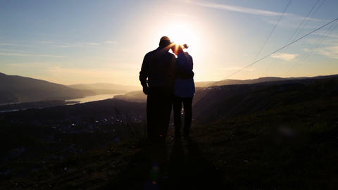 Love, Sunset silhouette Stock Video Footage