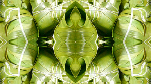 kaleidoscope pattern of rice dumplings of glutinous rice,dumplings leaf Animation