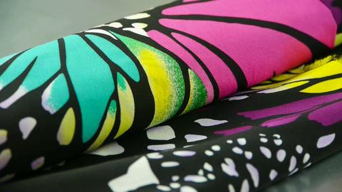 silk fabric,butterfly pattern Stock Video Footage