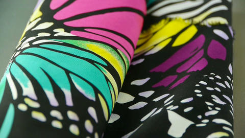 silk fabric,butterfly pattern Stock Video Footage
