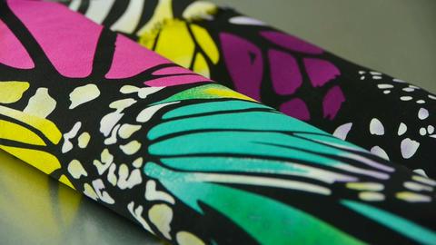 silk fabric,butterfly pattern Footage
