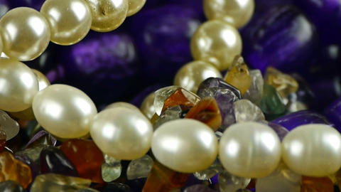 gorgeous gemstones jewelry,pearl necklace Stock Video Footage