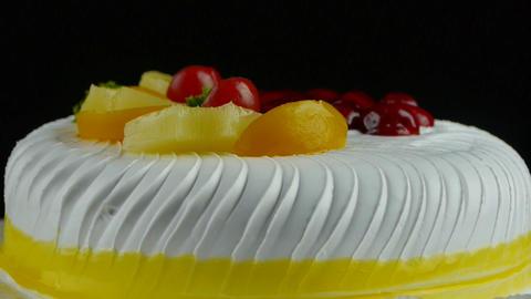 delicious fruit cake,cherry,tomato,pineapple Stock Video Footage
