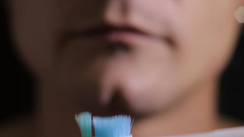 electric Brushing Teeth close up Stock Video Footage