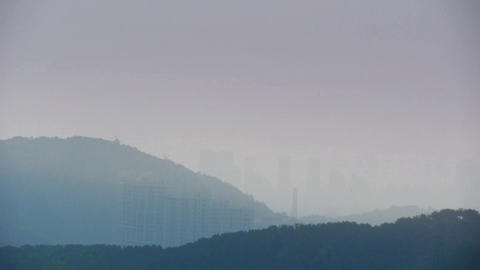 Panoramic of Mountains & hill,High-voltage wire tower... Stock Video Footage