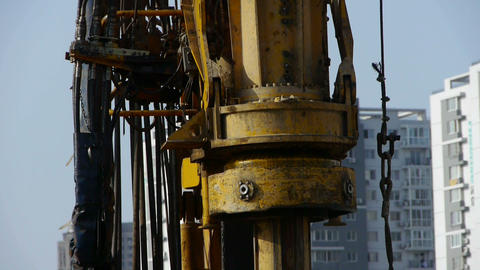 drilling machinery,Construction of city buildings Stock Video Footage