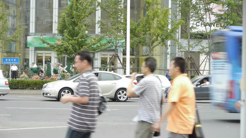 Urban intersection street,Busy people Stock Video Footage