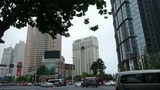 Urban intersection street,Busy people,trees,glass curtain wall Footage