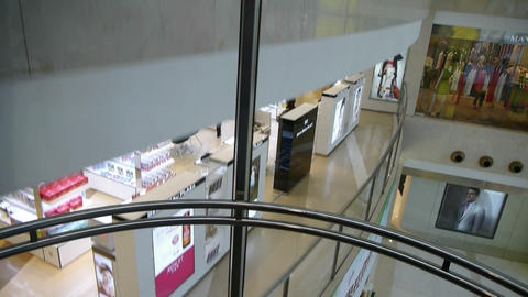 Seen shopping malls from the elevator,modern city... Stock Video Footage